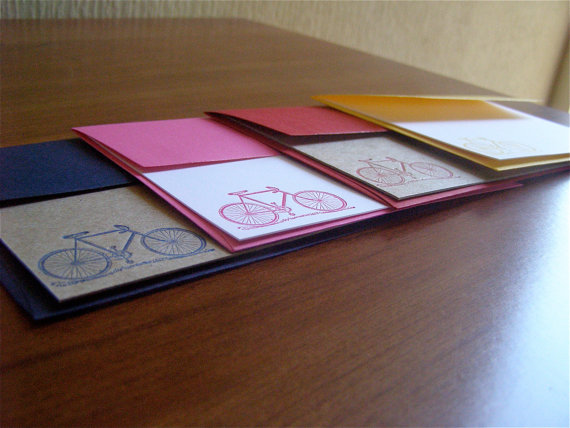 Letterpress bike stationery